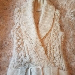 Cable Knit Vest Belted Sweater